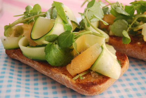 Courgette, Watercress and Melon Bruschetta
