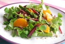 Watercress, Beetroot, Asparagus and Orange Salad and a Hazelnut Dukah