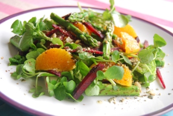 Watercress Salad with Beetroot, Asparagus and Orange and a Hazelnut Dukah