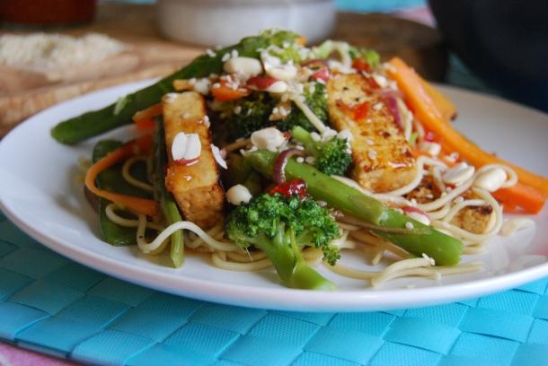 Sweet Marinated Tofu and Noodle Salad