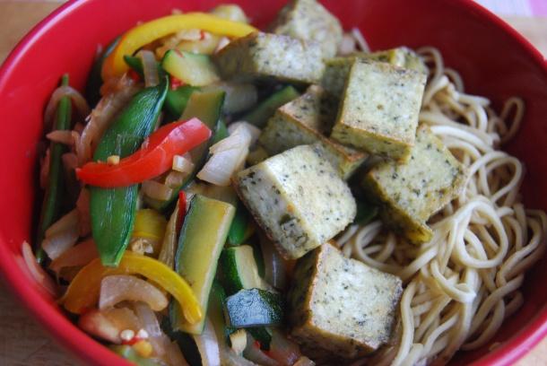 Basil Tofu and Noodle Stirfry
