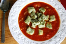 Tomato soup with basil gnocchi