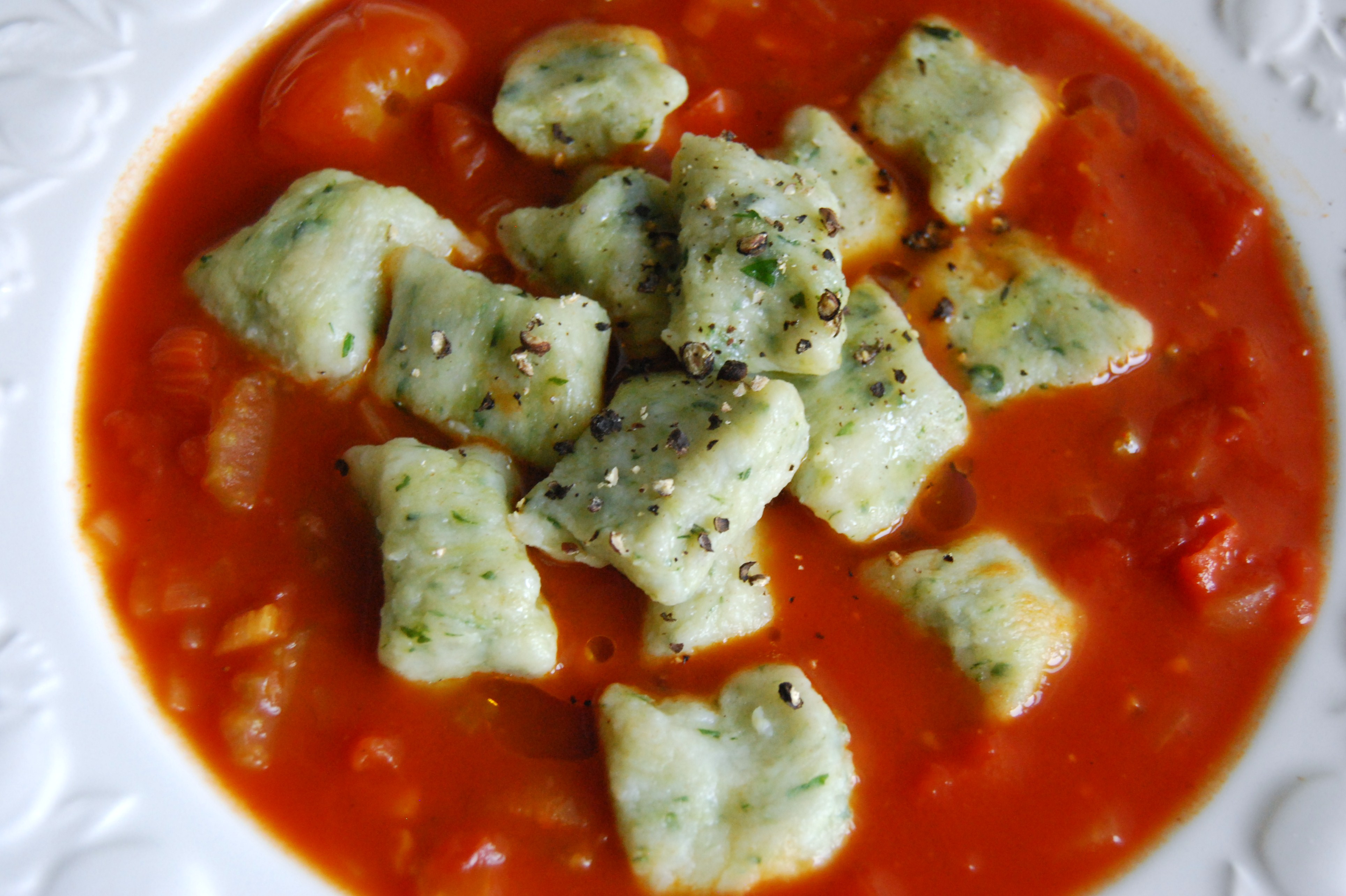 Tomato Soup with Basil Gnocchi Dumplings