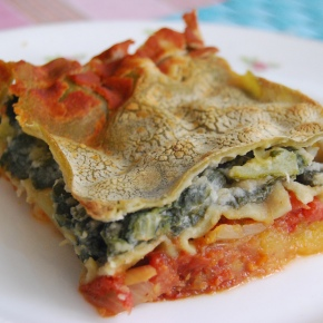 Pumpkin and Greens Lasagna with Butterbean sauce: Meat Free Monday