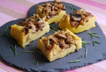 Mixed mushroom, garlic and rosemary mini polenta slabs