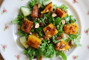Maple and Mustard Sweet Potatoe Salad with Hazelnuts