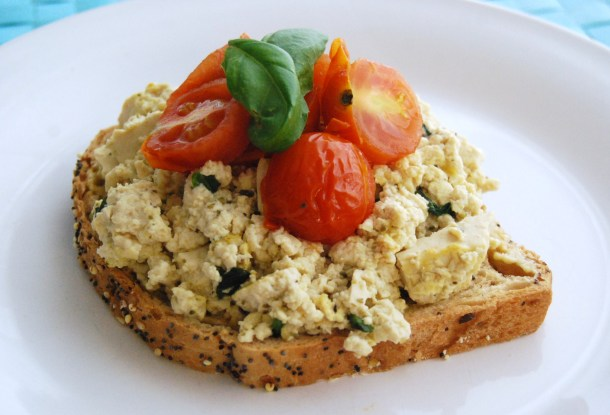 Tofu Scramble with Grilled Cherry tomatoes and fresh basil