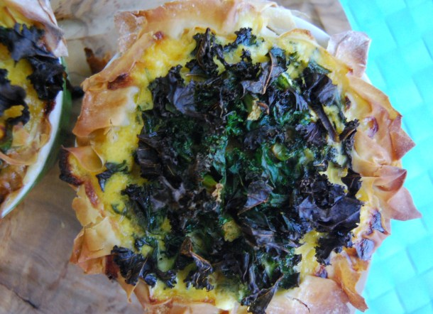 Kale topped pie