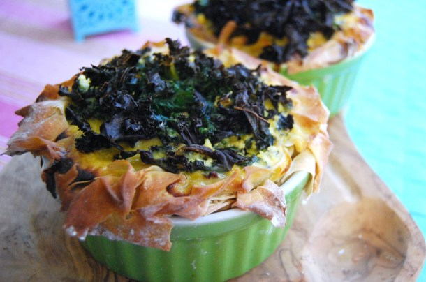 kale topped pie