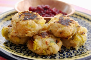 Celeriac Bubble and Squeak with Cranberry Sauce