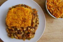 Lentil and Chickpea Cottage Pie w/ Sweet Potato Mash