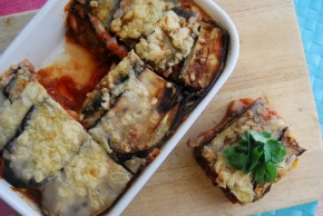 Aubergine and Ratatouille layered bake