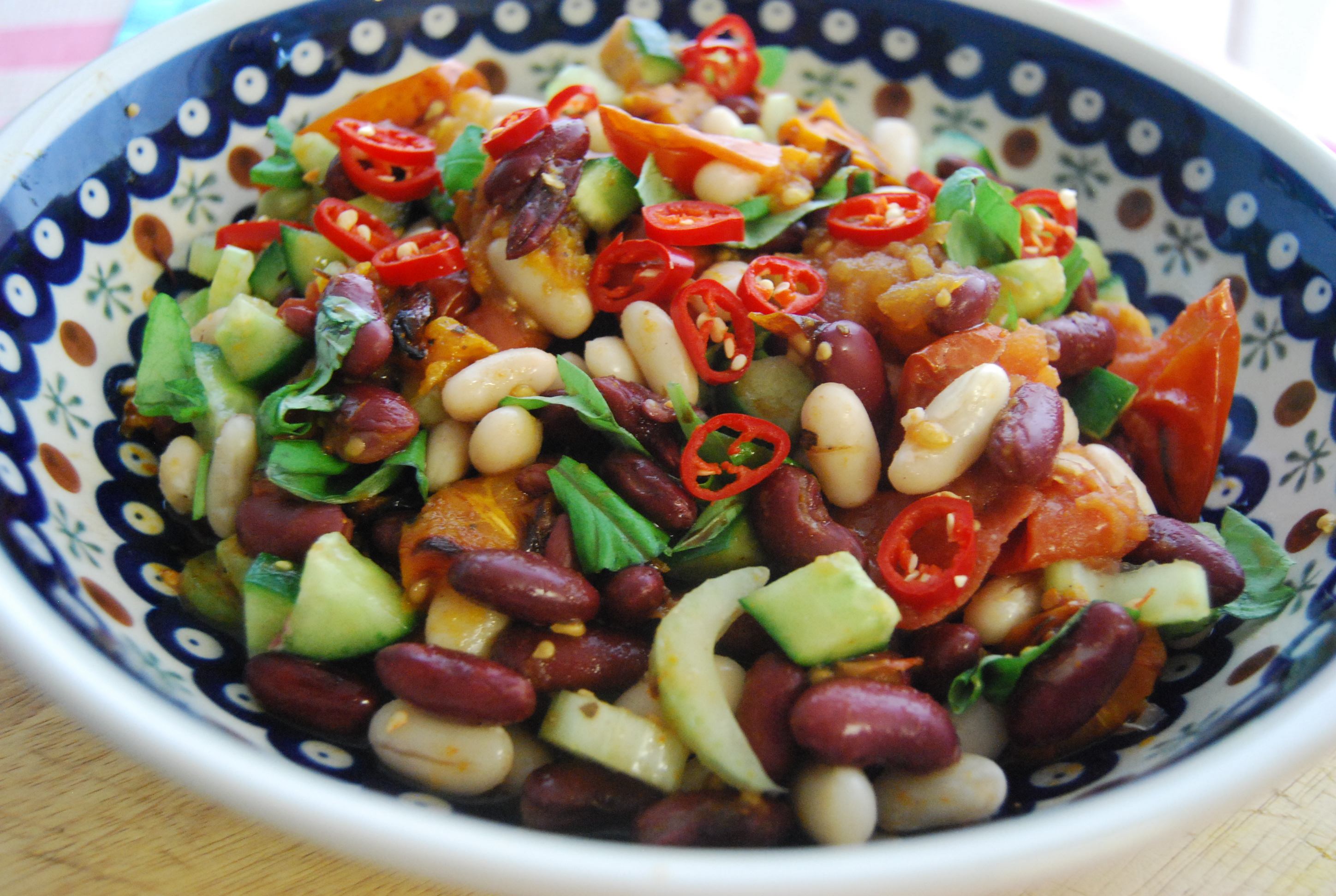 Roasted Tomato and Mixed Bean Salad