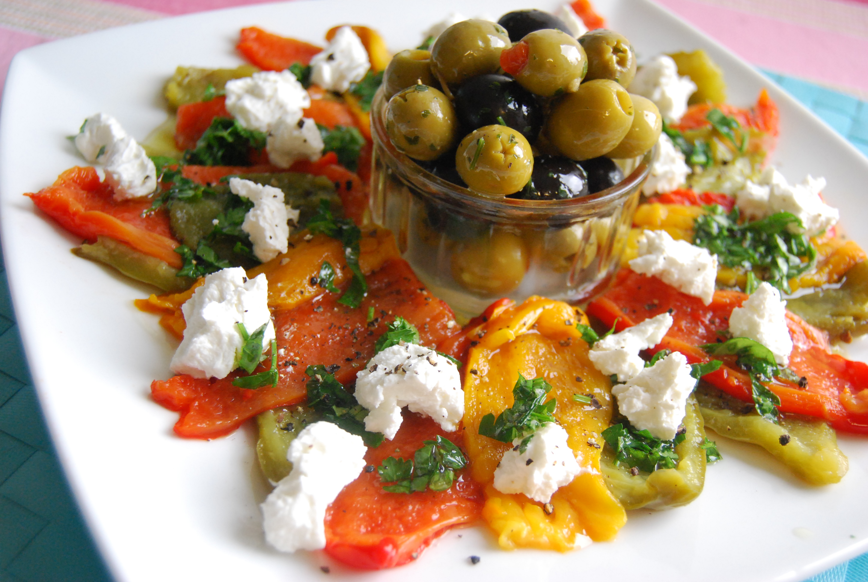 Roasted Pepper and Goats Cheese Platter with a Herb Oil   veghotpot