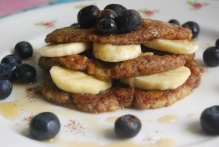 Banana and Flax Pancakes with Blueberries