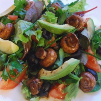 Warm Marinated Mushroom and Avocado Salad with a Balsamic Dressing