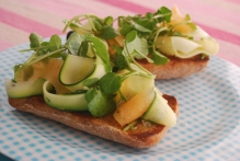 Melon, Courgette and Watercress Bruschetta
