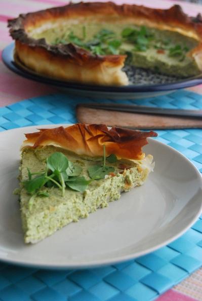 tofu, pea and watercress quiche, vegan