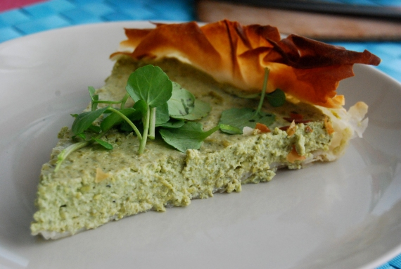 tofu, pea and watercress quiche, vegan