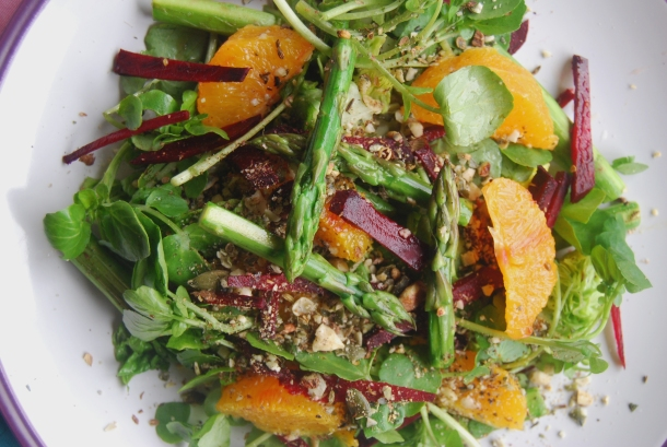 Raw Beetroot, Asparagus and Orange Salad with a Hazelut Dukkah