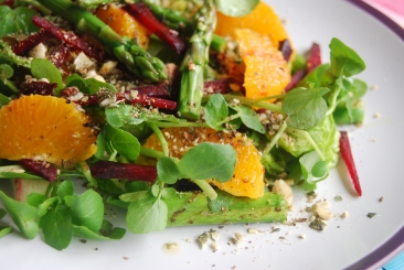 Beetroot, Orange and Asparagus Salad with Hazelnut Dukkah