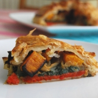 St Georges Day Dinner - Layered Roasted Vegetable Wellington with a Cauliflower Puree