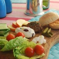 St Georges Day Vegetarian Ploughmans Lunch! With a Mushroom and Almond Pâté and a Fruity Goats Cheese