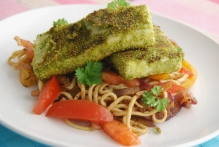 Spinach Powder and Polenta Crispy Tofu with Noodles