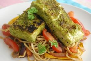 Spinach Powder and Polenta Crispy CoatedTofu