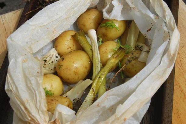New Potato, Fennel and Spring Onion En Papilotte
