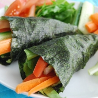 Nori Seaweed Wrap with Edamame and Wasabi Hummous and Raw Veggies