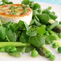 Watercress, Asparagus and Garden Pea Salad with Grilled Goats Cheese and a Lemon Mint Dressing