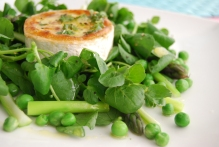 Watercress, Asparagus and Garden Pea Salad with Goats Cheese