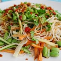Vegetable and Noodle Salad with Soya Ginger Dressing