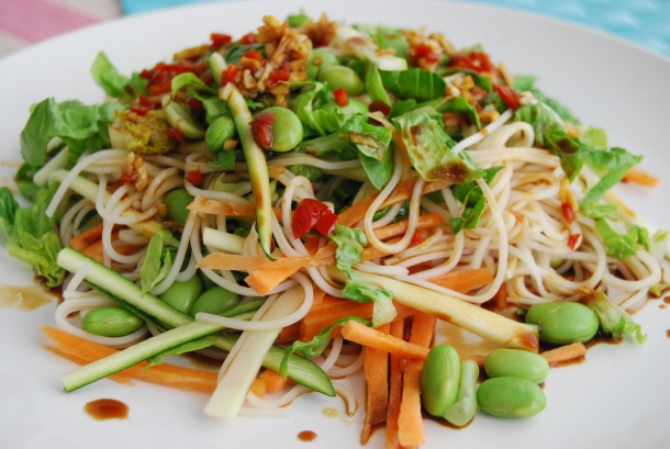 Vegetable and Noodle Salad with Soya Ginger Dressing