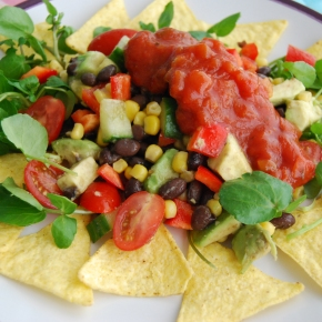 Mexican Chopped Salad with Corn Chips and Salsa
