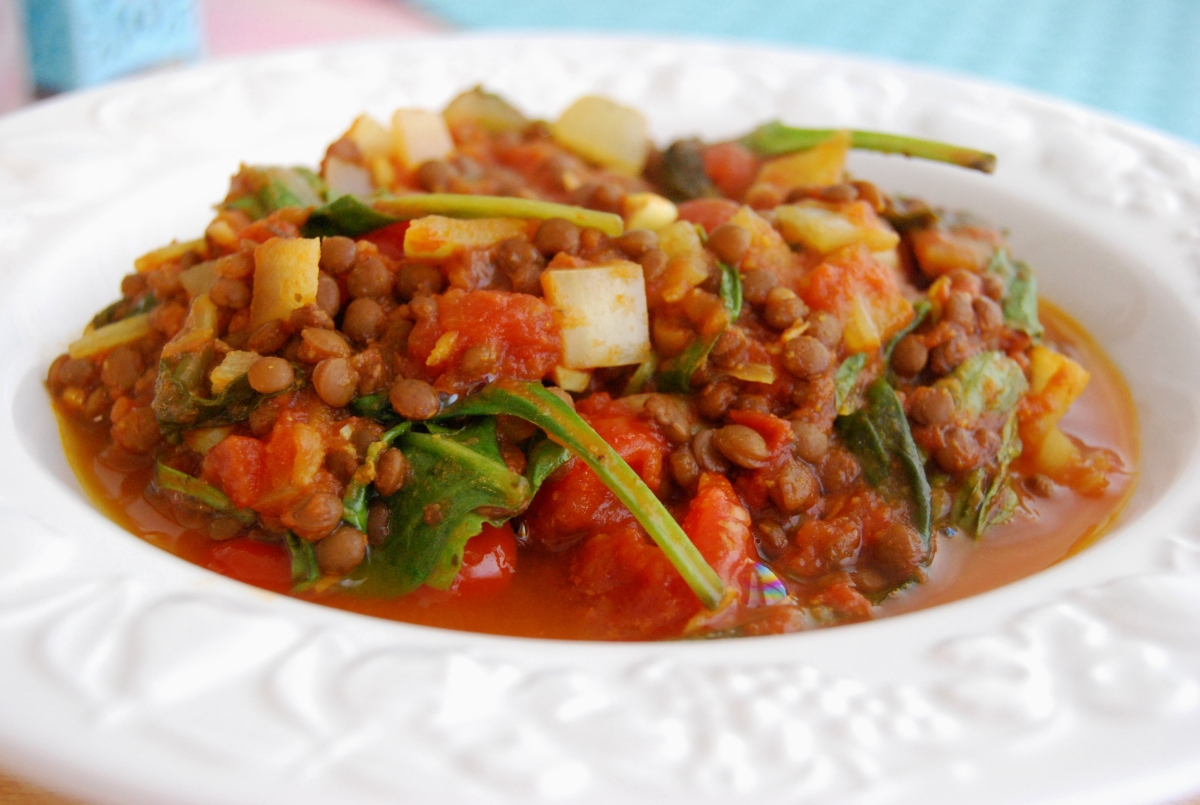 Curried Puy Lentils with Plum Tomatoes and Spinach