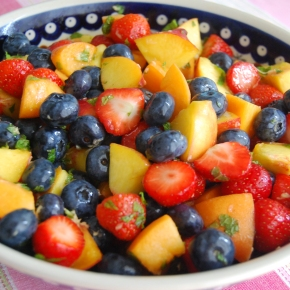 Tricolour Fruit Salad with Lemon, Ginger, Mint and Agave Dressing
