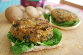 Mushroom and Rice Veggie Burger and a Tilda Rice Review