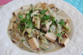 Vegan Smoked Tofu and Mushroom Carbonara with Gluten Free 'Mung Bean'Pasta