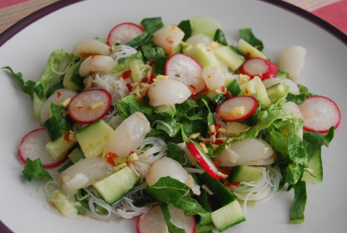Rice Noodle and Lychee Salad with a Sweet Chilli Dressing