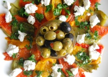 Roasted Peppers Platter with Goats Cheese and Herbs