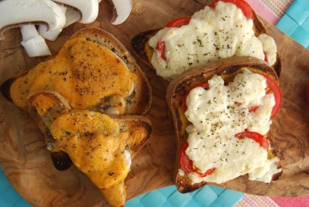 Vegan Welsh Rarebit two ways (Mushroom or Tomato)