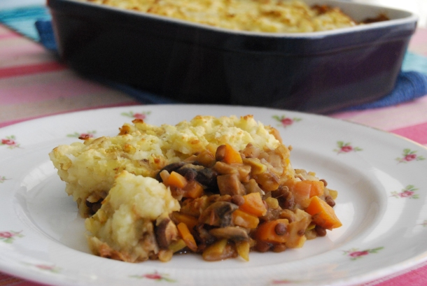 Mushroom and Lentil Cottage Pie with a Root Veg Mash