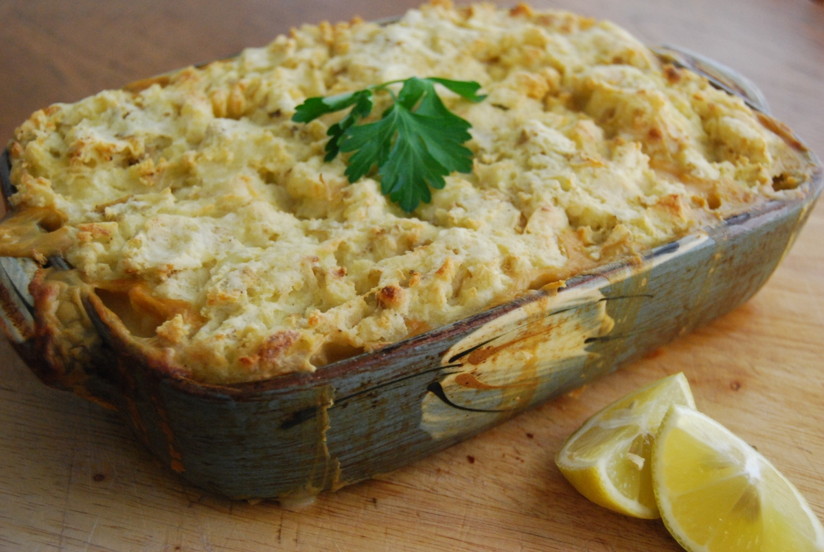 Vegan 'Fish' Pie with Tofu and Oyster Mushroom  - Vegan MoFo