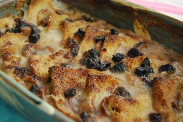 Vegan Banana and Date Bread and Butter Pudding
