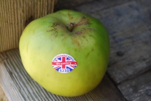 British apples have codes on them to confirm the variety and season of the apple!