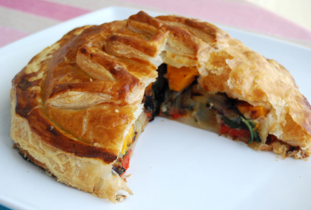 Roasted Vegetable and Cauliflower puree Wellington