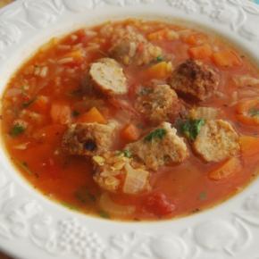 Vegetarian Sausage, Rice and Lentilsoup