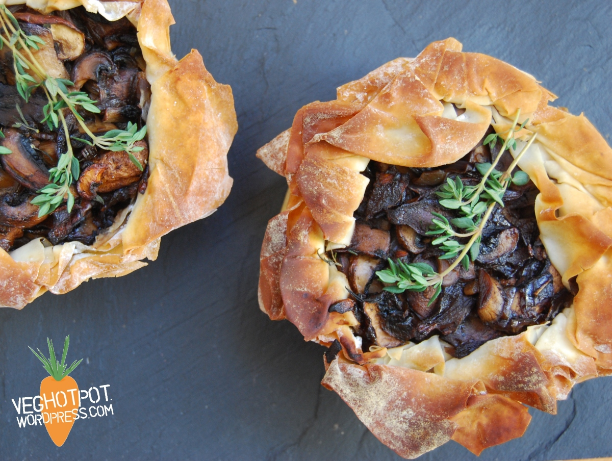 Layered Mushroom and Cannellini Bean Vegan Easter Pie
